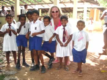 Shirley with children from the School